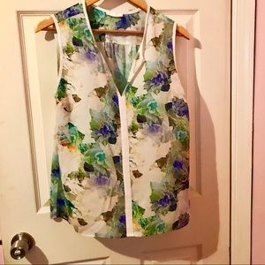 Sleeveless blouse, white, mint, royal blue floral